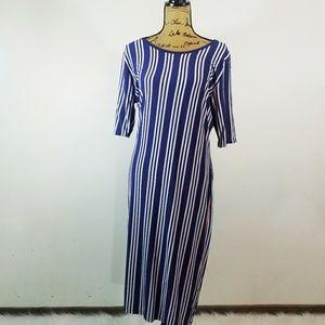 Lularoe 2XL Julia Blue Striped Dress